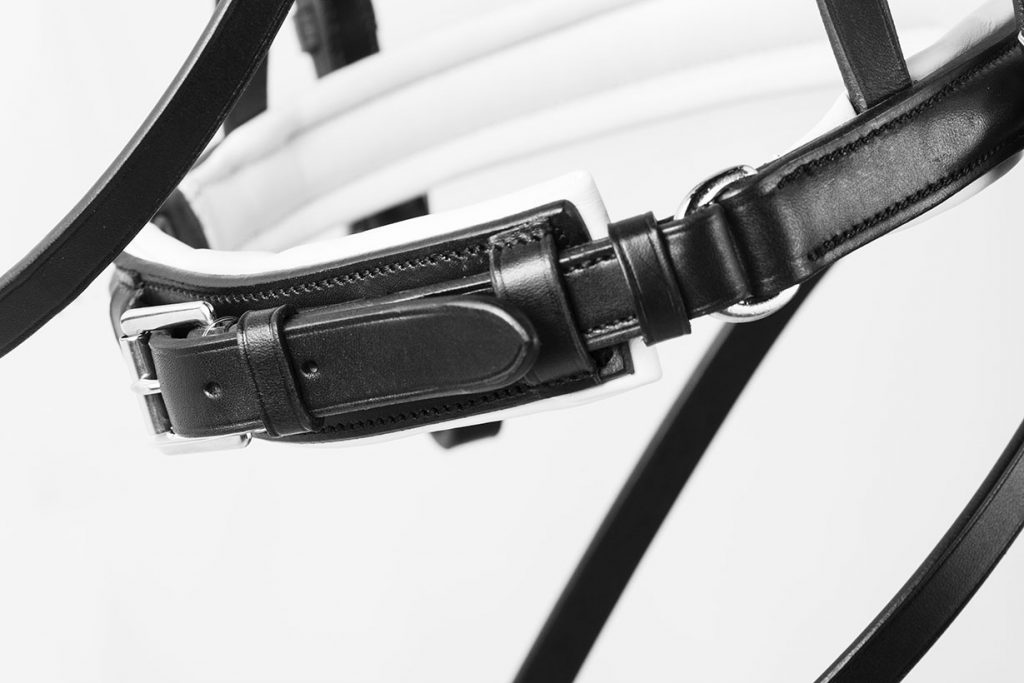 Close-up of black and white horse bridle.