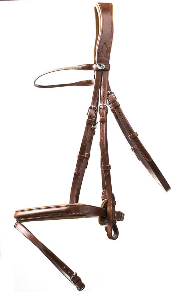 Brown leather bridle on white background.