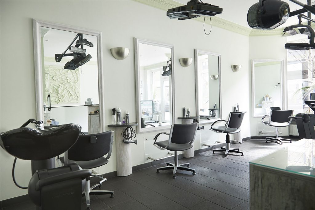 Modern hair salon interior.